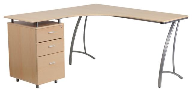 Flash Furniture Gg Three Drawer L Shape, Flash Furniture Computer Desk With 3 Drawer Pedestal