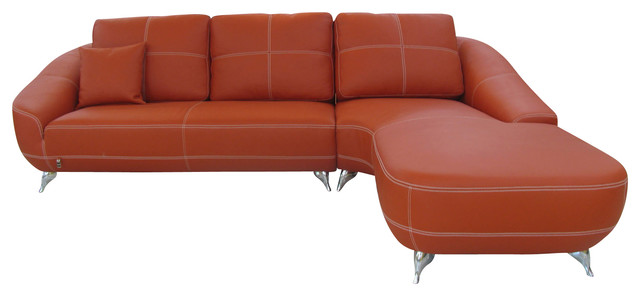 Orange Lucy Leather Sectional Sofa, Right Chaise.