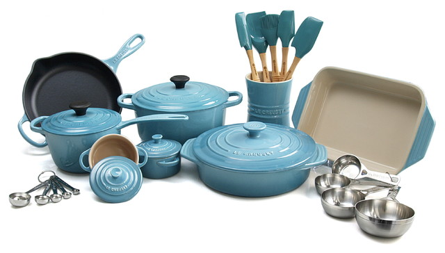 Le Creuset 18 Piece Enameled Cast Iron/Stoneware Cookware Set, Caribbean  Traditional