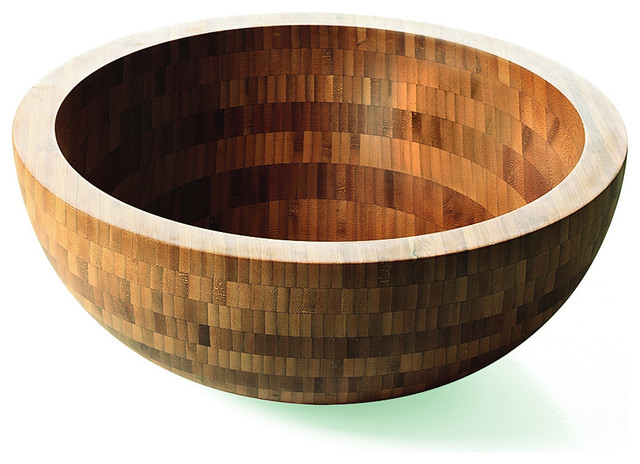... Collection LB Round Vessel Sink Bowl, Bamboo - Bathroom Sinks Houzz