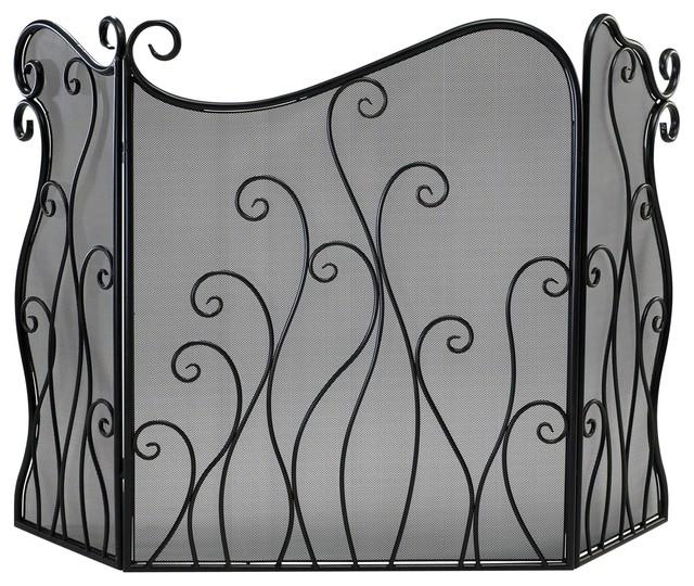 Evalie Contemporary Bronze Iron Fireplace Screen.