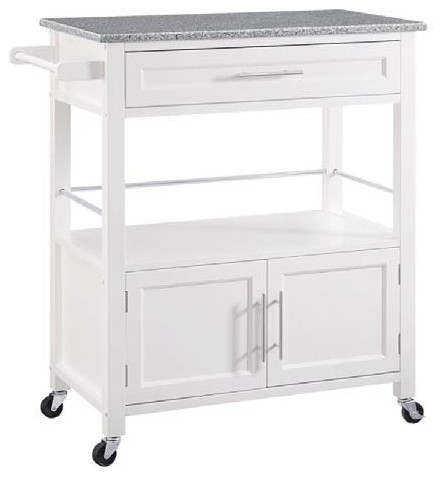 Cameron White Kitchen Cart With Granite Top Contemporary Kitchen  Islands And Kitchen