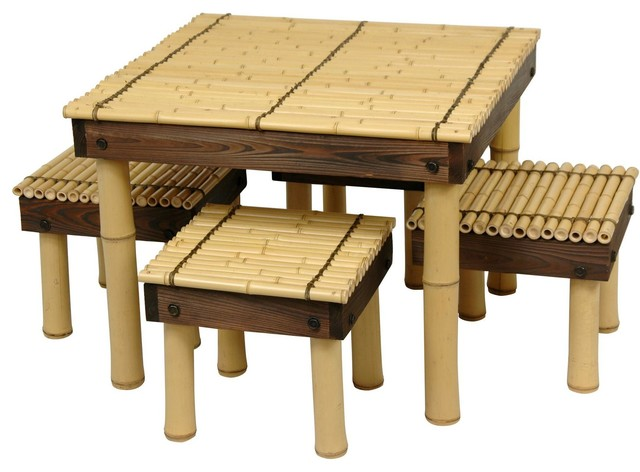 Zen Bamboo Coffee Table With Stools, 5 Piece Set Asian Coffee Table