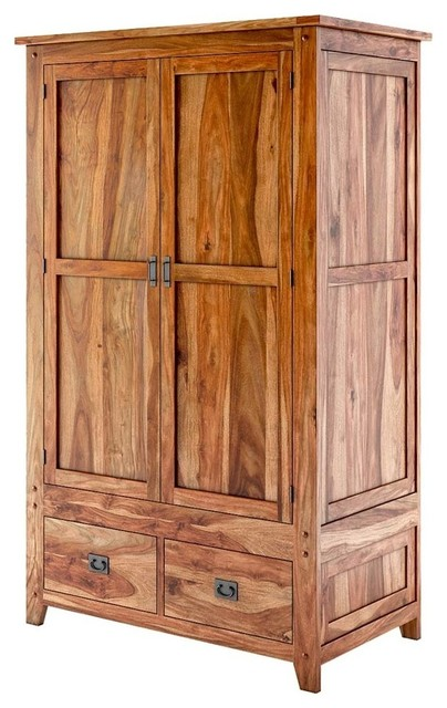 Delaware Rustic Solid Wood Wardrobe Armoire With Drawers