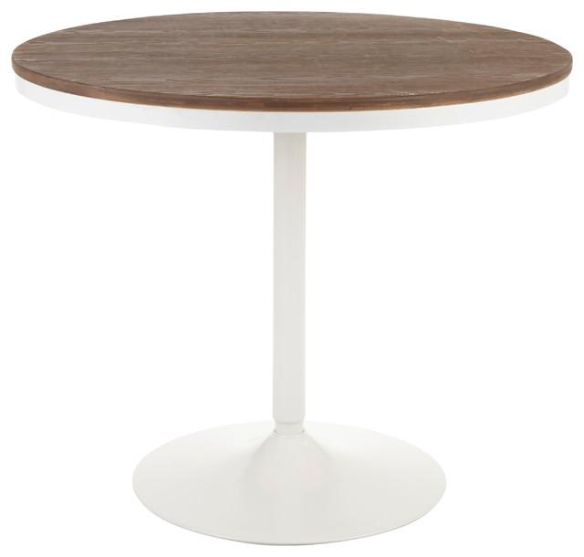 Dakota Industrial Dining Table, White Metal, Brown Bamboo