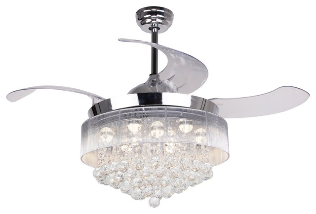 Crystal Retractable Blades Ceiling Fan With Light, 3000k