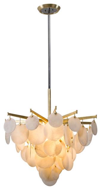 "Serenity LED Chandelier, 34"", Gold Leaf Finish, Natural Stone"
