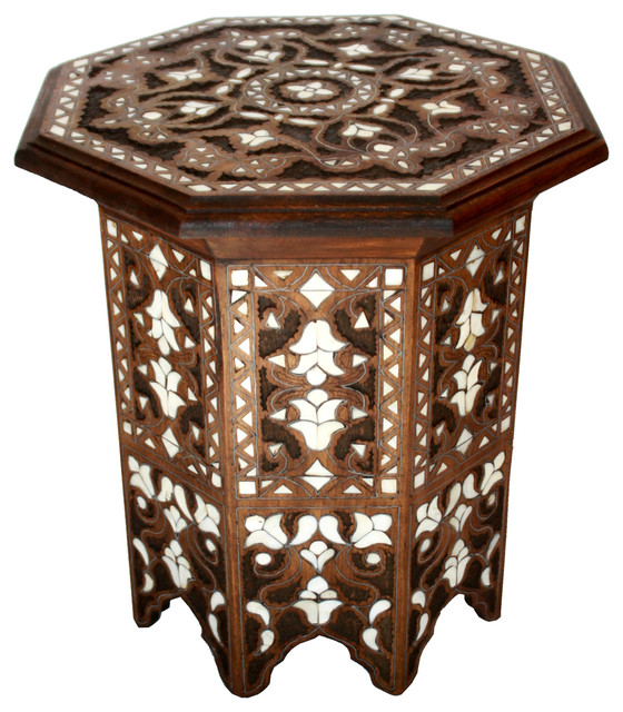 Moroccan Mother Of Pearl Side Table, Design 1 Mediterranean Side Tables And