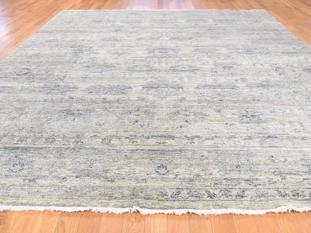 "8'9""x11'9"" Handmade Pure Wool Abrash Design With Greens Oriental Rug"