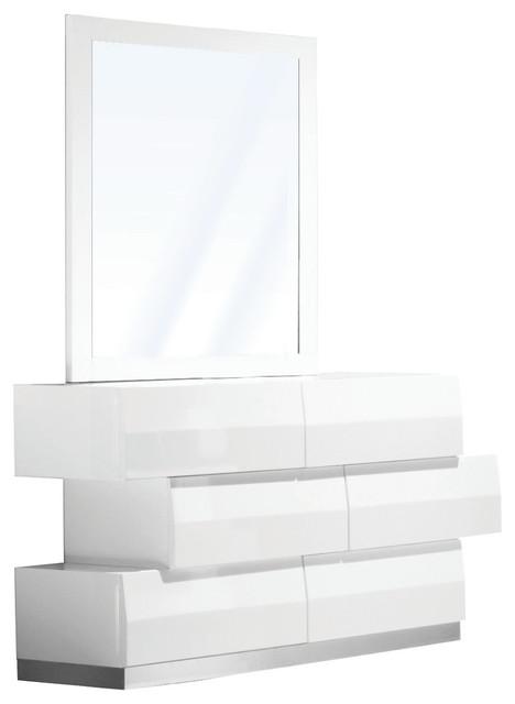 Spain Modern White Zigzag 6-Drawer Bedroom Dresser and Mirror, 2-Piece Set