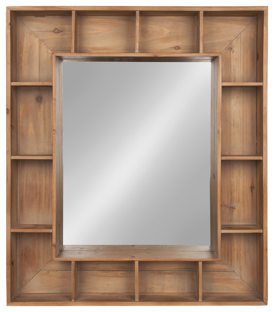 Kate And Laurel Kieren Rustic Wood Cubby Framed Wall Storage Mirror Farmhouse Wall Mirrors By Uniek Inc