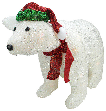 23 lighted white plush glittered polar bear christmas yard art decoration - Polar Bear Christmas Decorations