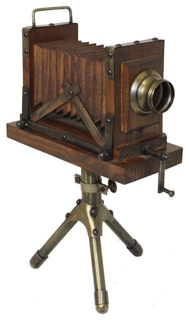 Urban Designs Vintage Tabletop Wooden Camera With Tripod Accent Home Decor contemporary-home-decor