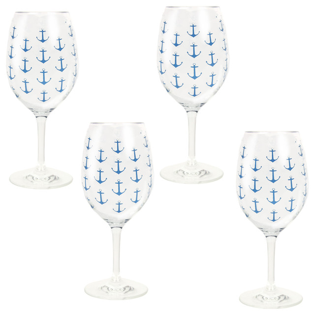 anchor pattern acrylic wine glasses set of 4