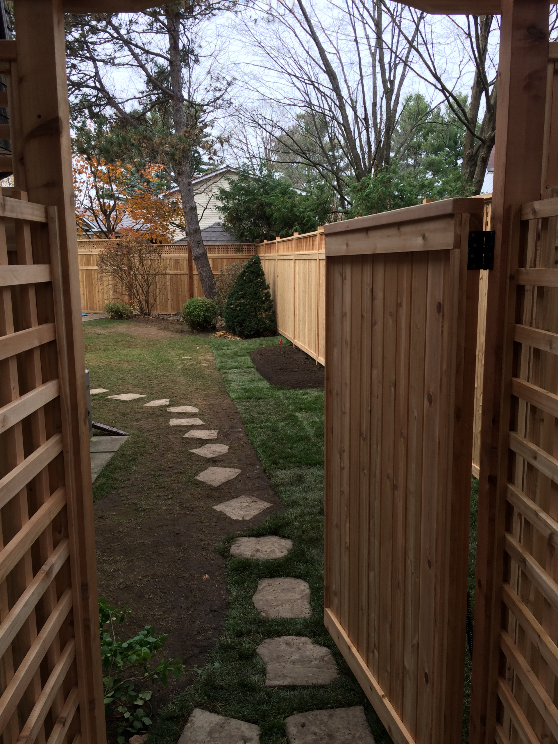 toungue & groove Cedar fence with 6 x 6 posts & 4 x 4 posts