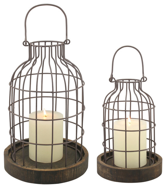 2-Piece Weathered Cloche Set With Wood Bases