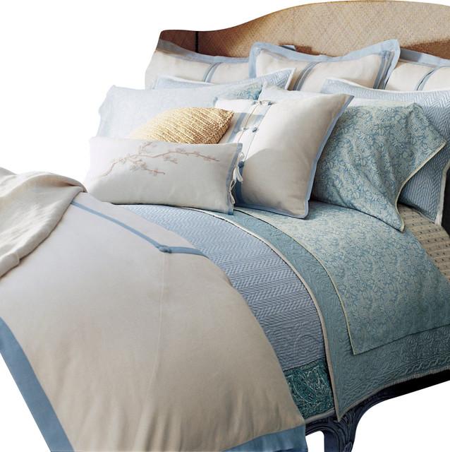 Ralph Lauren Indochine Linen Cream Blue 13pc Cal King Duvet Cover Set