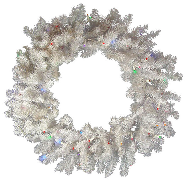 "Battery Pre-Lit Snow Artificial Christmas Wreath, White/multicolor Led, 24""."