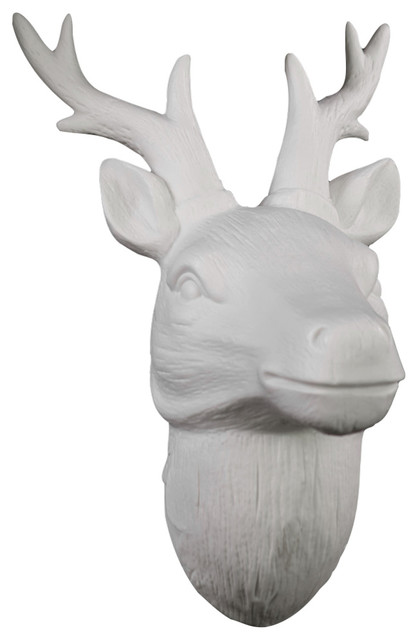 Porcelain Deer Head Wall Decor With Antlers Matte White