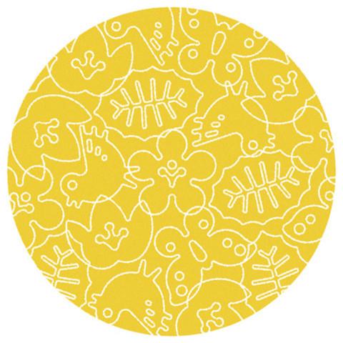 Season Canary Yellow White Area Rug 6 Round Area Rugs