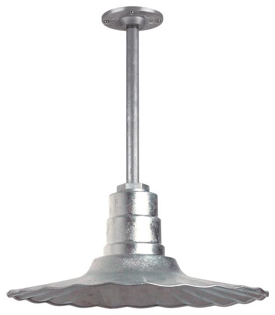 Outdoor Hanging Barn Lights: Retro Radial Barn Lighting Pendant With Rigid Stem