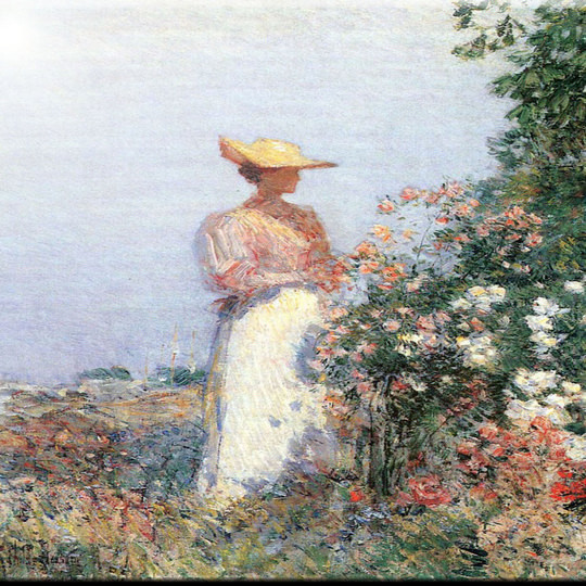 "Childe Hassam Art Woman In Garden Design Ceramic Art Tile, 4.25"" X 4.25""."