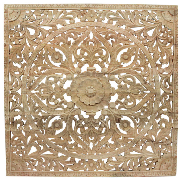 Square Carved Wood Panel asian-wall-accents - Design Mix Furniture Square Carved Wood Panel - Wall Accents Houzz