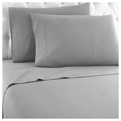 Micro Flannel Sheet Set, Greystone, Twin