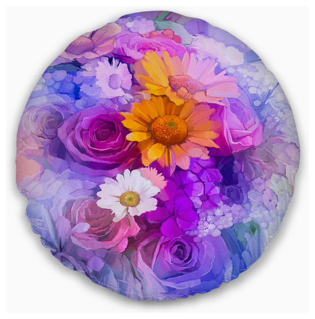 Designart CU14128-16-16 Rose Daisy and Gerbera Flowers Floral Cushion Cover for Living Room Sofa Throw Pillow 16 in in x 16 in Insert Printed On Both Side
