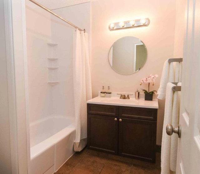 Example of a small classic bathroom design in Calgary