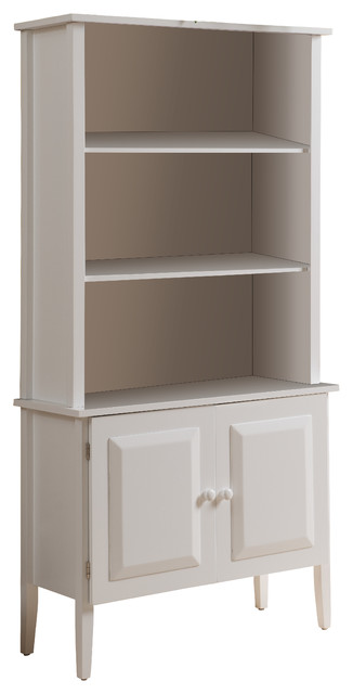 Marie Wooden Bookcase With Doors White Contemporary Bookcases By Pilaster Designs