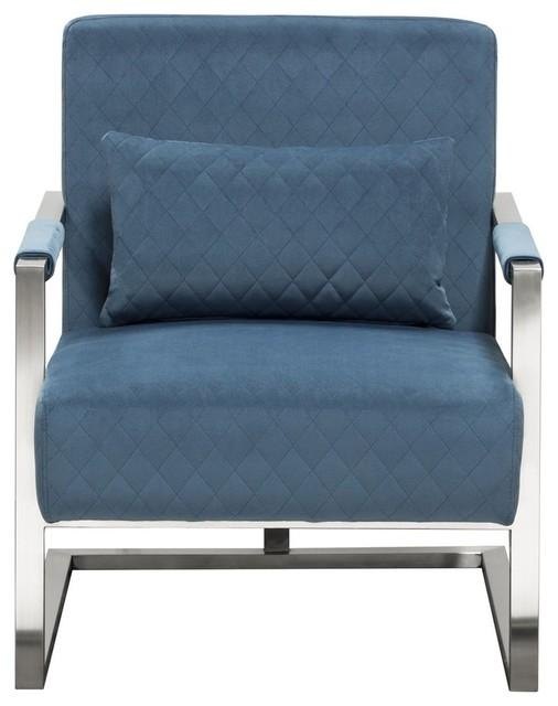 Studio Accent Chair Diamond Tuft Velvet Fabric Stainless Steel