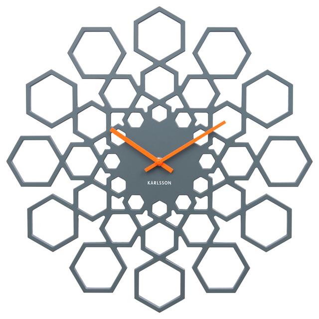 Karlsson Sunshine Hexagon Clock, Grey