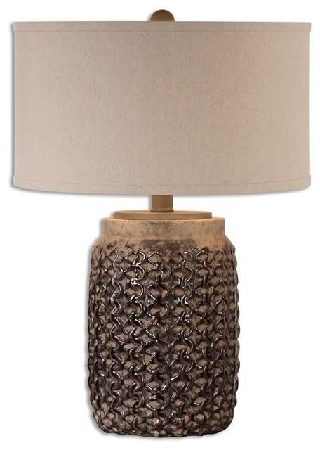 Rust Brown Ceramic Table Lamp Basket Weave Design Contemporary