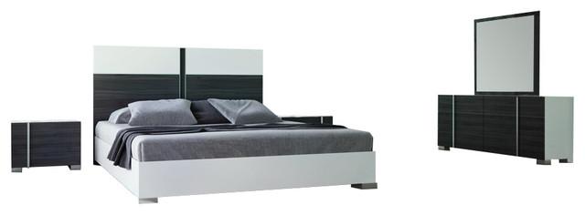 Nova Domus Corrado Italian White And Gray Bedroom Set Eastern King