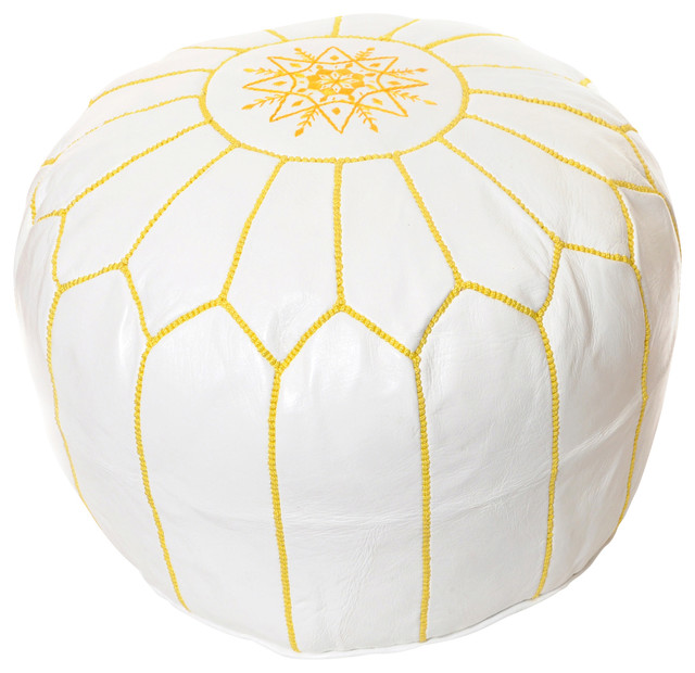 Moroccan Leather Pouf Mediterranean Floor Pillows And Poufs By Unique White And Gold Pouf