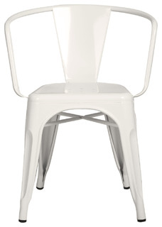 Glossy White Curve Back Style Metal Stackable Dining Chair, Set of 2