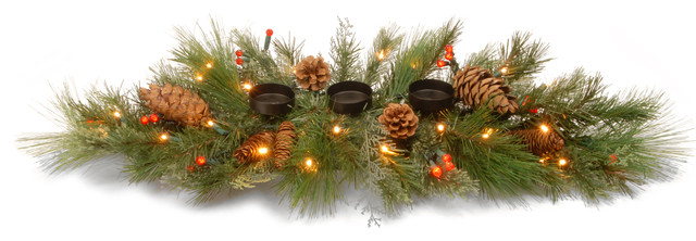 """30"""" Decorative Collection White Pine Candle Holder Centerpiece With Led Lights."""