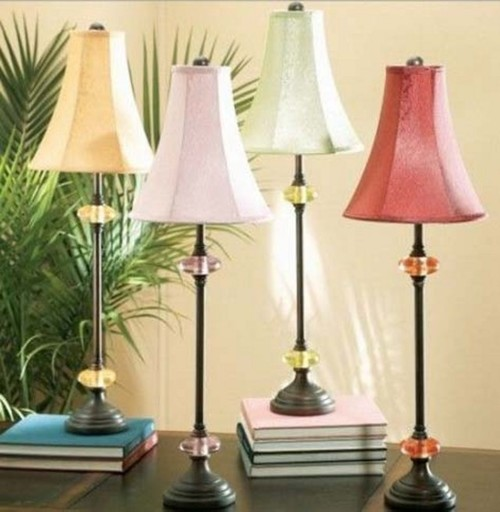 Find some skinny buffet lamp shades like these and I would find a contrast  color to add some fun and pop to your new table. - Buffet Lampshade Help, Pls