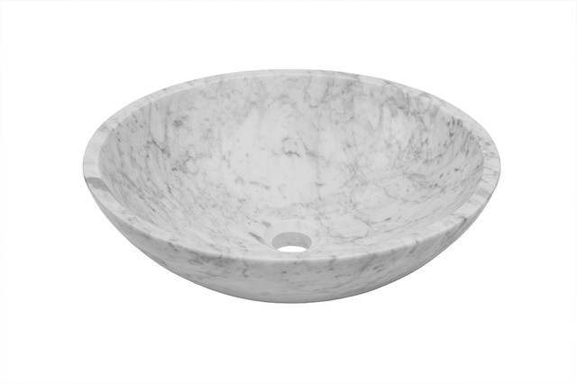 Novatto Carrera White Marble Vessel Bathroom Sink Contemporary Bathroom Sinks