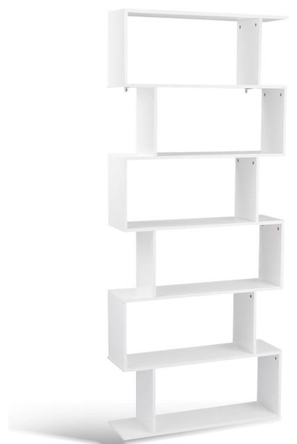 Modern 6 Tier S Shaped Bookcase Z Shelf Style Storage Bookshelf White