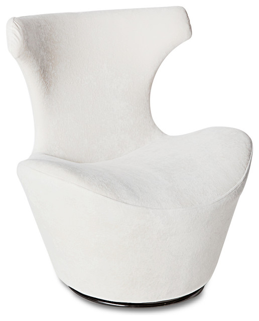 Wedge Modern Swivel Occasional ChairWhiteContemporary