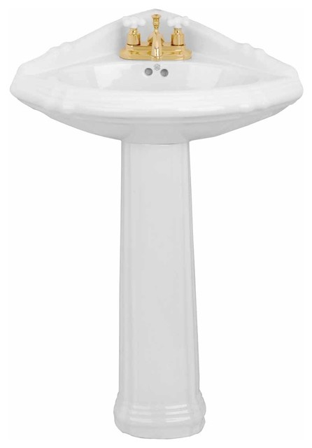 Corner Pedestal Sink White China With Centerset Faucet Holes And Overflow.
