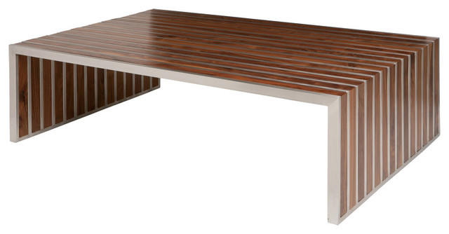 Holden Stainless Steel Walnut Wood Slatted Modern Coffee Table Tables
