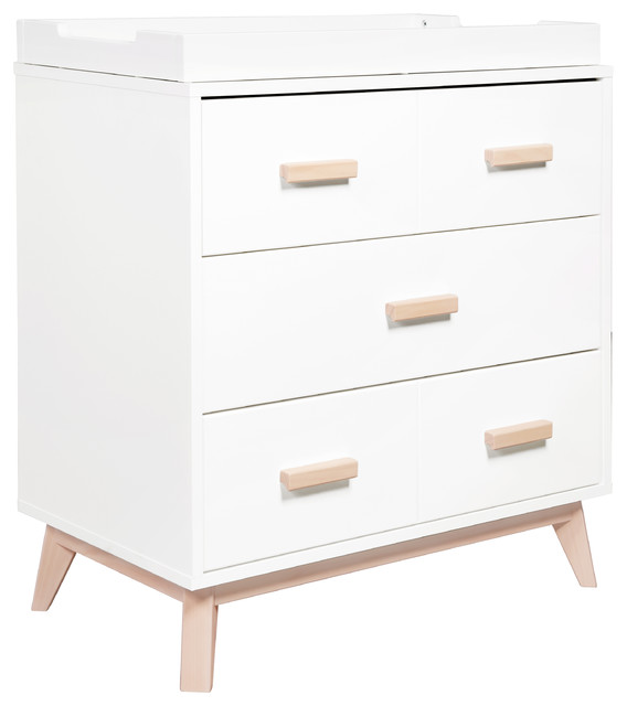 Scoot 3 Drawer Changer Dresser, White And Washed Natural Midcentury Changing  Tables