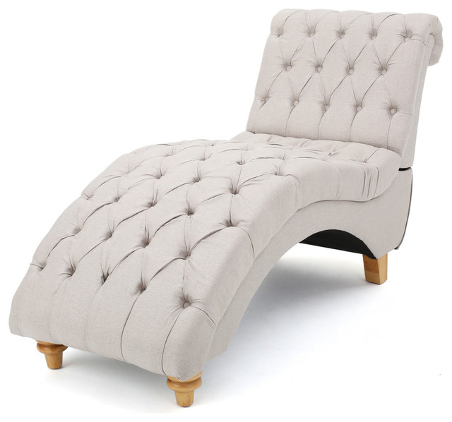 Bellanca Fabric Tufted Chaise Lounge Chair Medium Beige transitional-indoor-chaise-lounge  sc 1 st  Houzz : furniture chaise lounge - Sectionals, Sofas & Couches