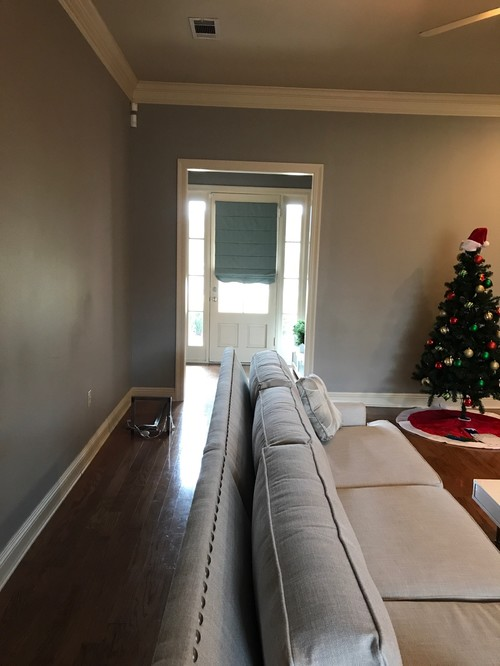 Want to paint walls either a lighter gray or the same cream color as trim.  Need rug suggestions, furniture, etc. Any help greatly appreciated!