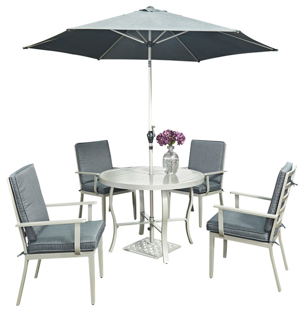 Good Round Outdoor Dining Set Part - 13: South Beach 7 Pc. Round Outdoor Dining Table, 4 Chairs, With Umbrella And