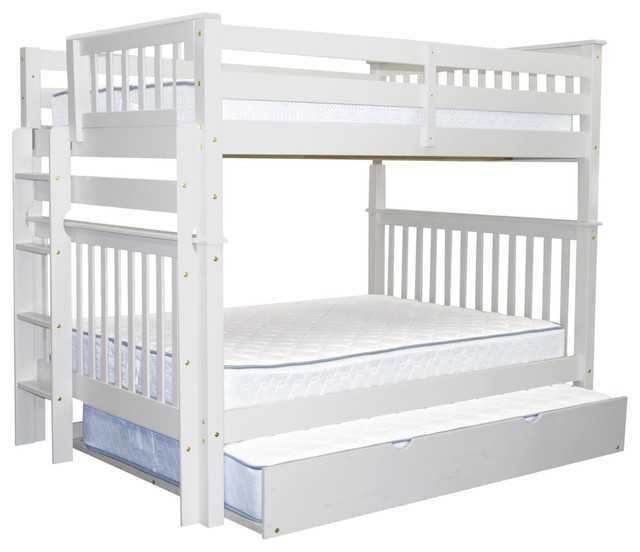 Bedz King Bunk Beds Full Over Full With End Ladder And Full Trundle, White.
