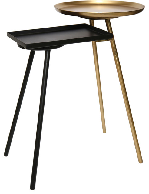 Gaston Iron Black And Gold Accent Table.